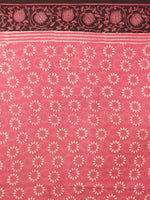 Pink White Brown Hand Block Printed in Natural Colors Cotton Mul Saree - S03170912