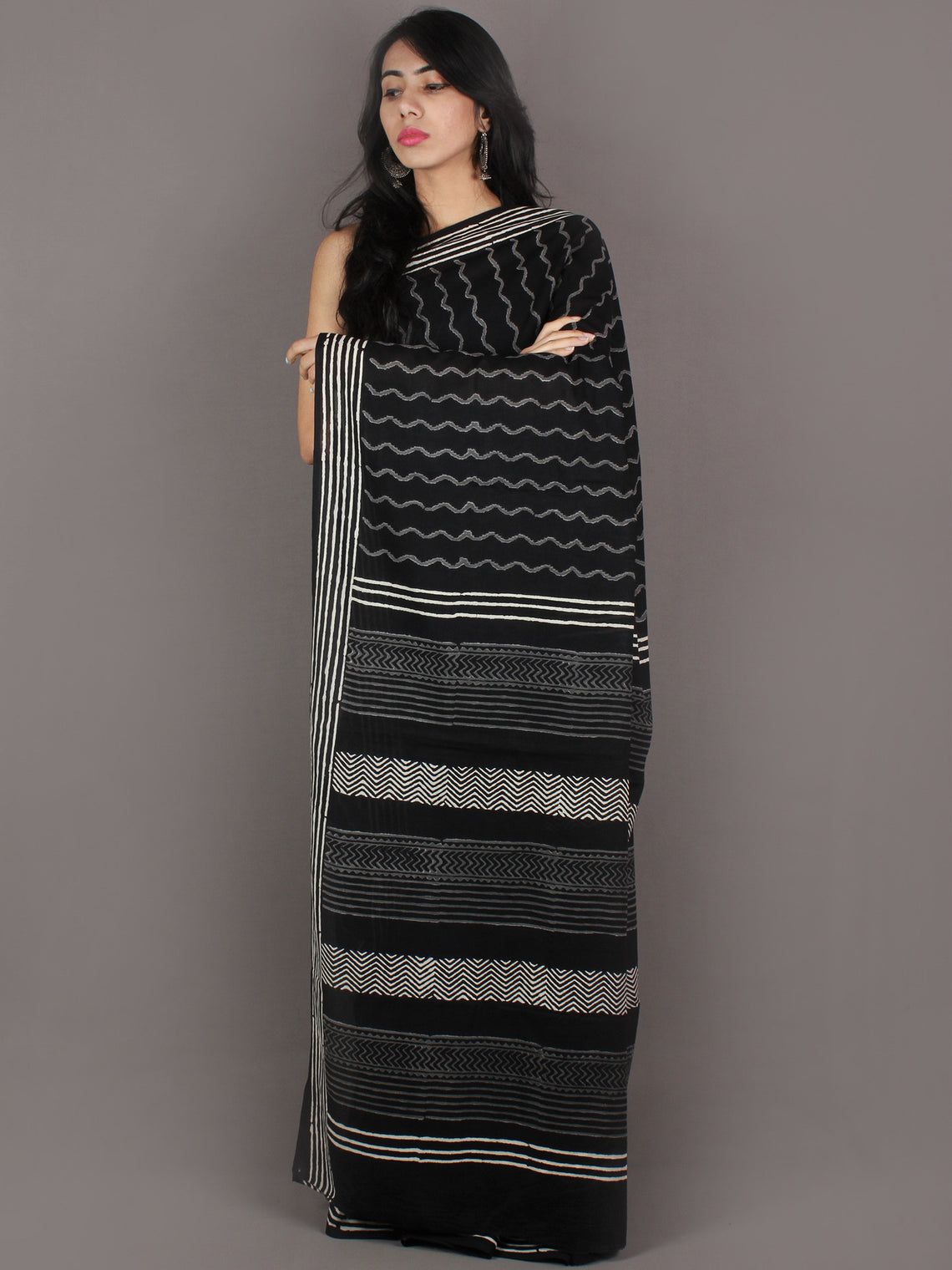 Black Grey White Hand Block Printed in Natural Colors Cotton Mul Saree - S03170914