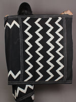 Black White Grey Hand Block Printed in Natural Colors Cotton Mul Saree - S03170916
