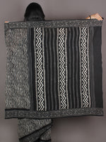 Black Grey White Hand Block Printed in Natural Colors Cotton Mul Saree - S03170917