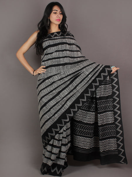 Black Grey White Hand Block Printed in Natural Colors Cotton Mul Saree - S03170920