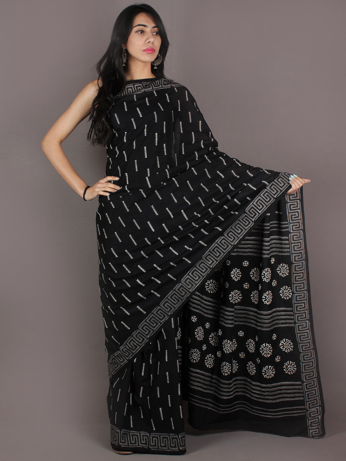Black Grey White Hand Block Printed in Natural Colors Cotton Mul Saree - S03170922