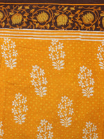 Yellow Ivory Brown Hand Block Printed in Natural Colors Cotton Mul Saree - S03170923