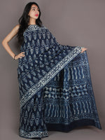 Indigo White Hand Block Printed In Natural Colors Cotton Mul Saree - S03170931