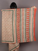 Ivory Orange Black Green Hand Block Printed in Natural Colors Cotton Mul Saree - S03170936