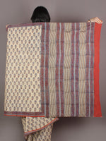 Ivory Orange Blue Brown Hand Block Printed in Natural Colors Cotton Mul Saree - S03170939