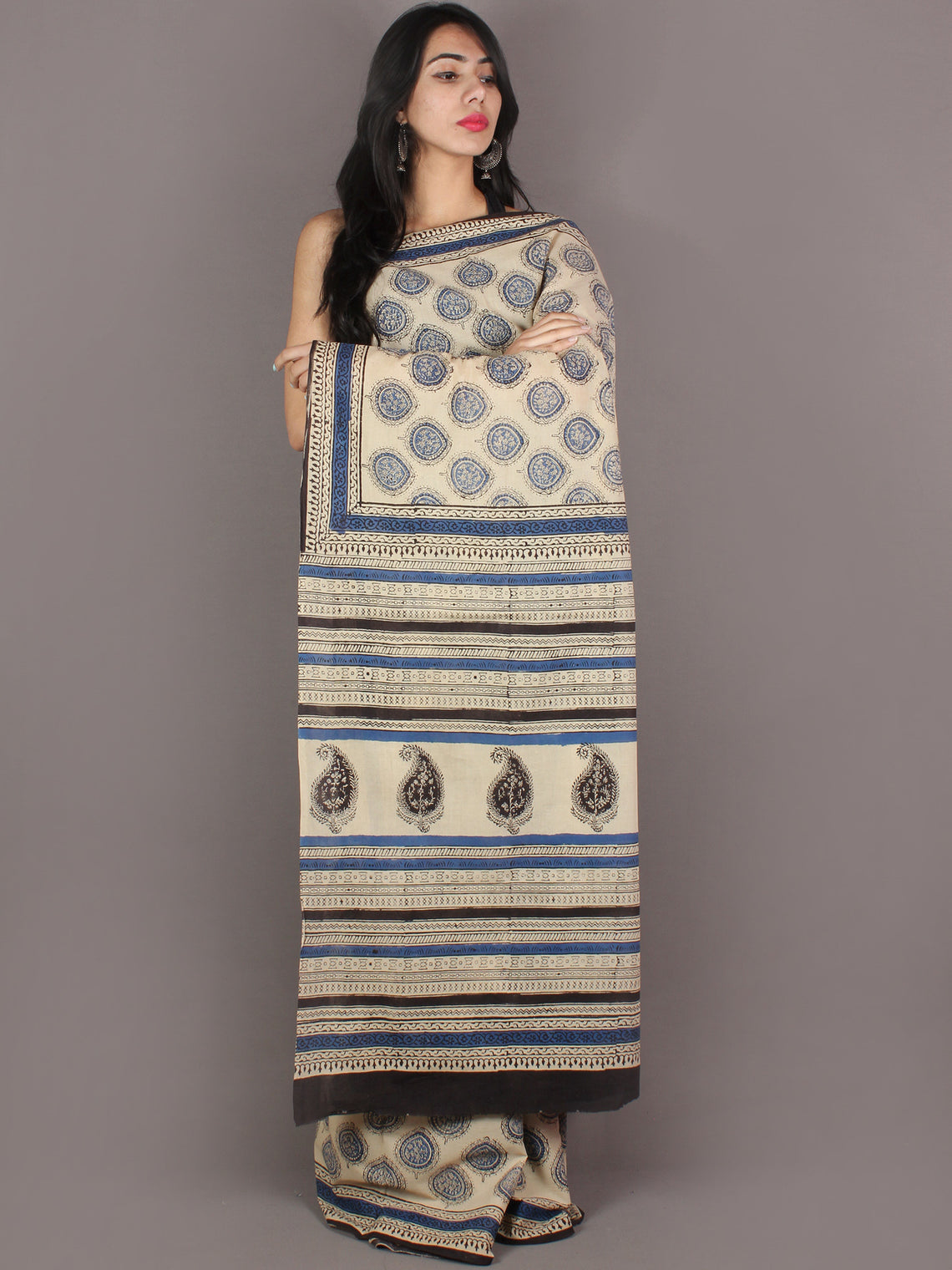 Ivory Indigo Black Hand Block Printed in Natural Colors Cotton Mul Saree - S03170940