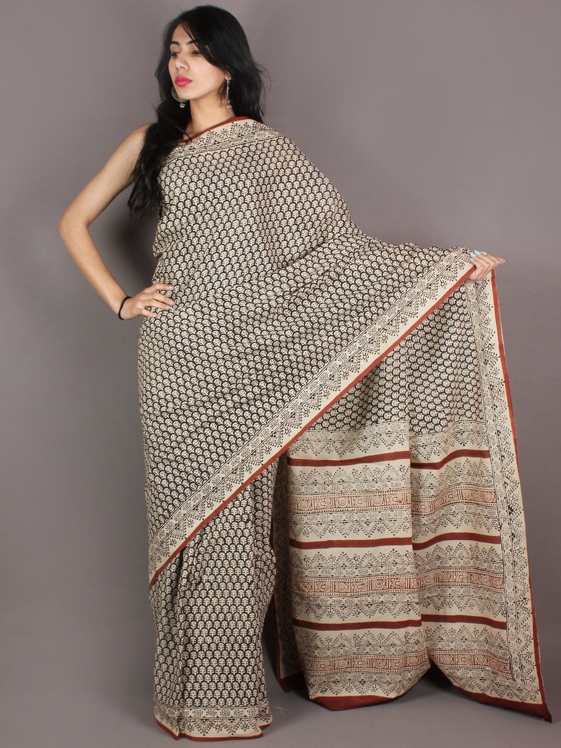 Ivory Black Brown Hand Block Printed in Natural Colors Cotton Mul Saree - S03170941