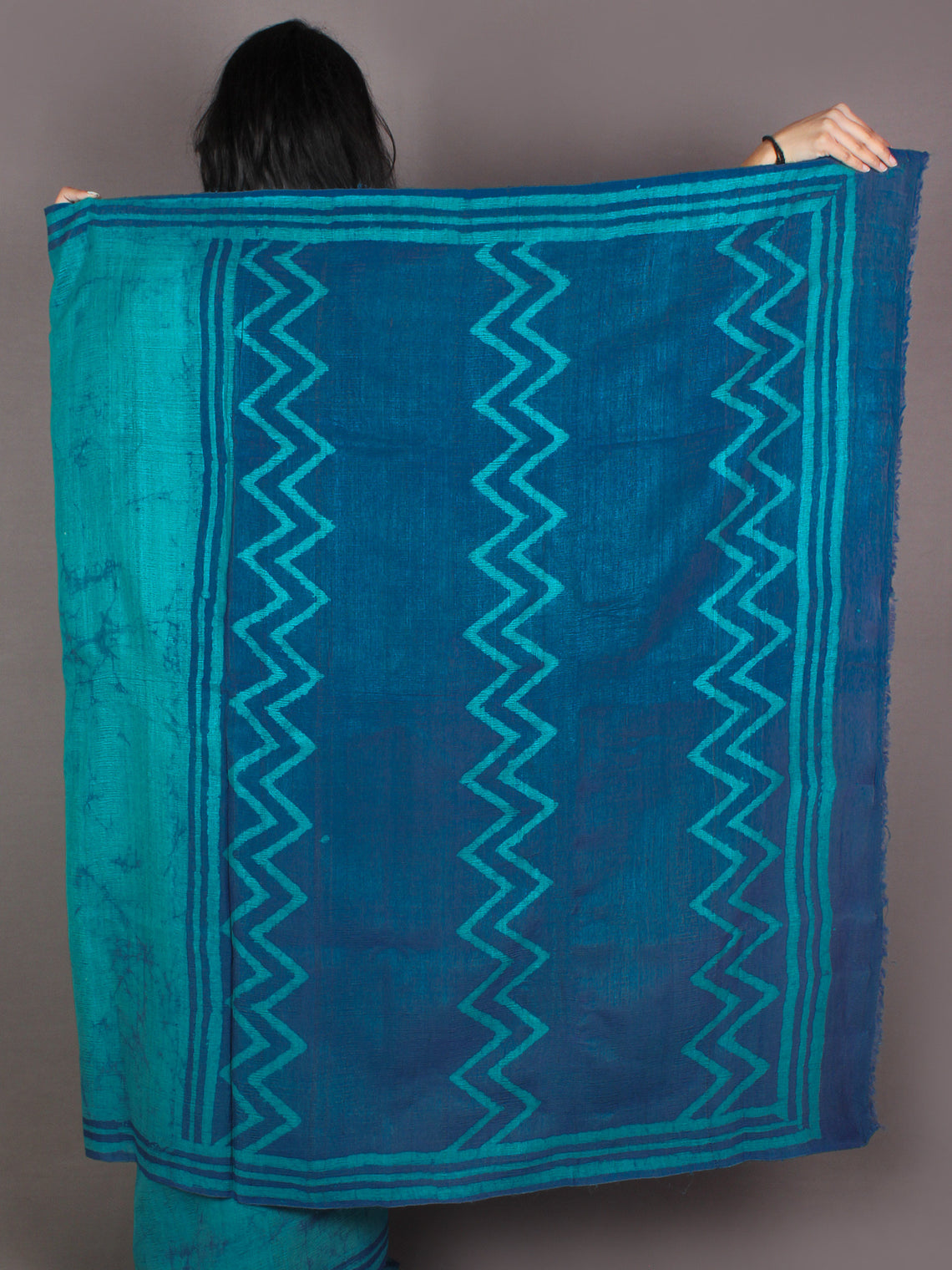 Tussar Handloom Silk Hand Block Printed & Painted Saree in Pine Green - S03170960