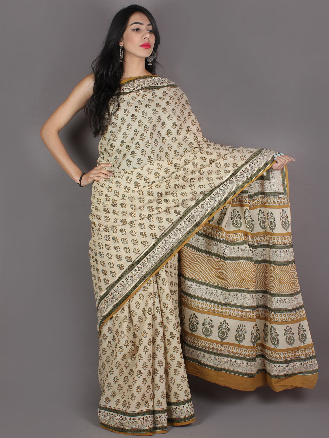 Ivory Green Yellow Black Hand Block Printed in Natural Colors Cotton Mul Saree - S03170962