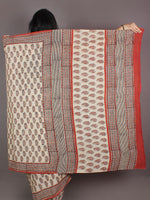 Ivory Red Grey Hand Block Printed in Natural Colors Cotton Mul Saree - S03170963