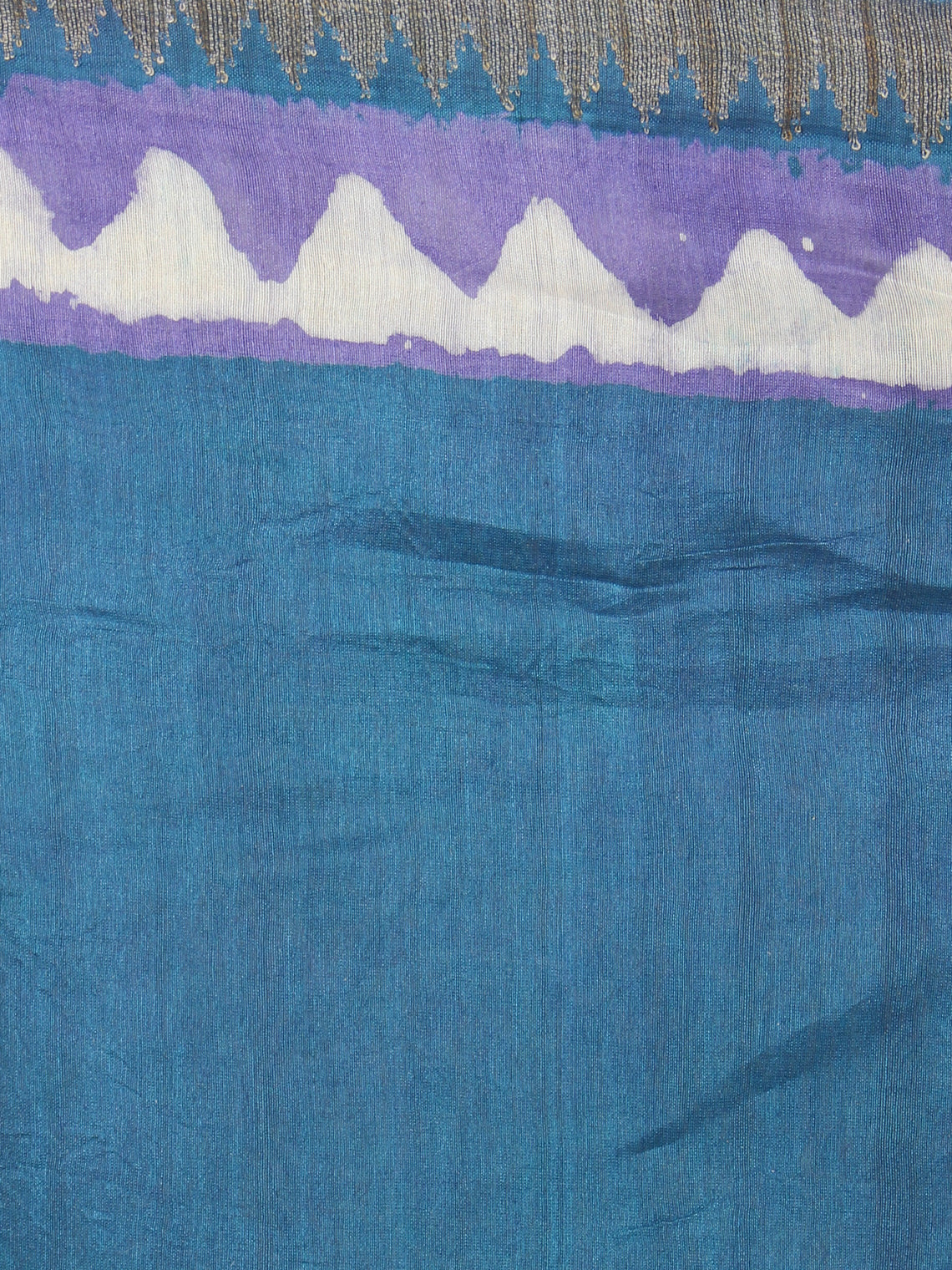 Fern Green Purple Hand Block Printed in Natural Colors Chanderi Saree With Geecha Border - S03170966