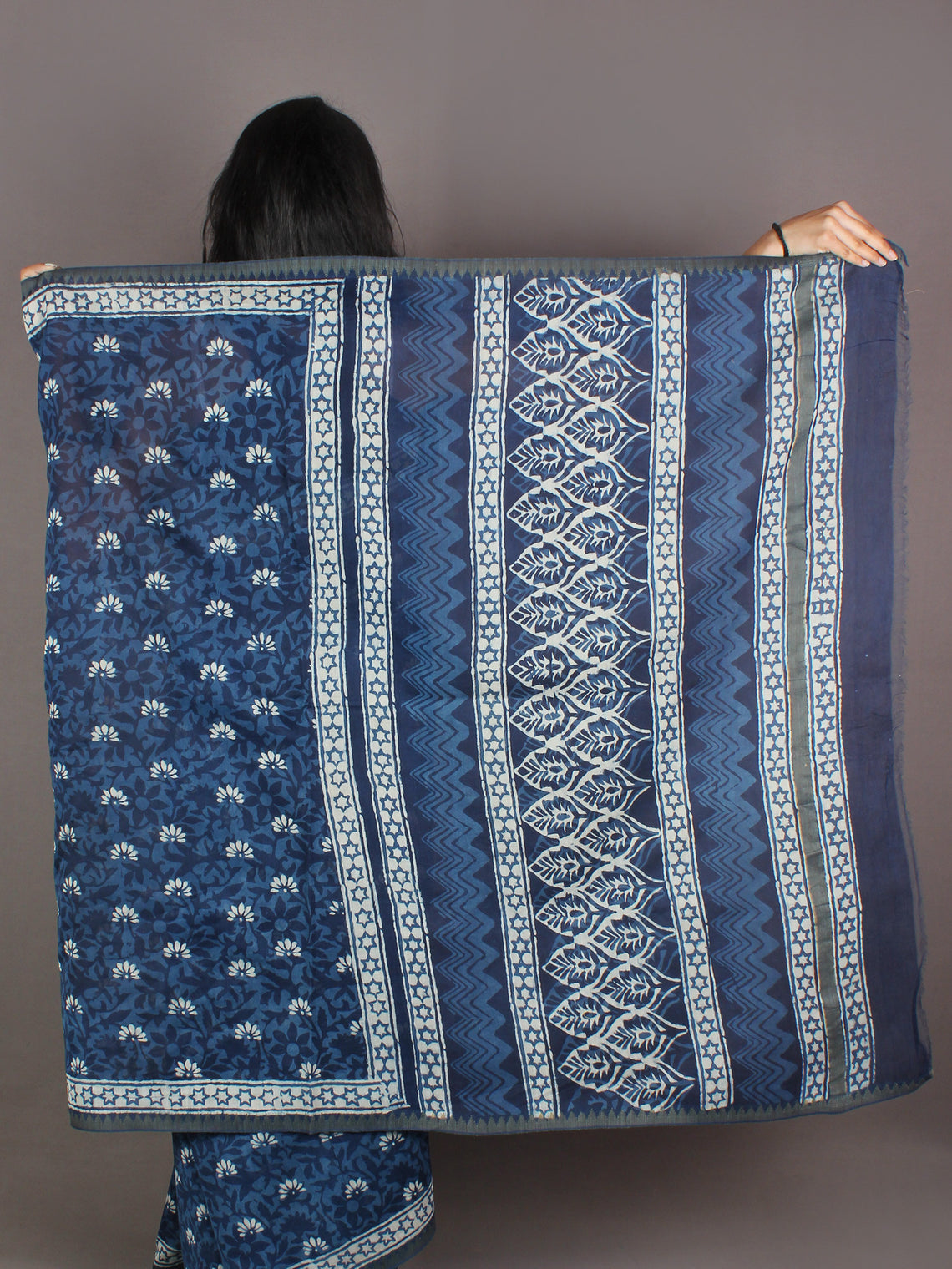 Indigo White Hand Block Printed in Natural Colors Chanderi Saree With Geecha Border - S03170968