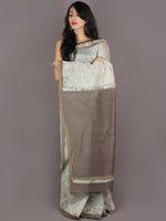 Off White Brown Hand Block Painted in Natural Colors Chanderi Saree With Geecha Border - S03170969