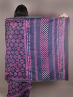 Indigo Pink Hand Block Printed in Natural Colors Chanderi Saree With Geecha Border - S03170972