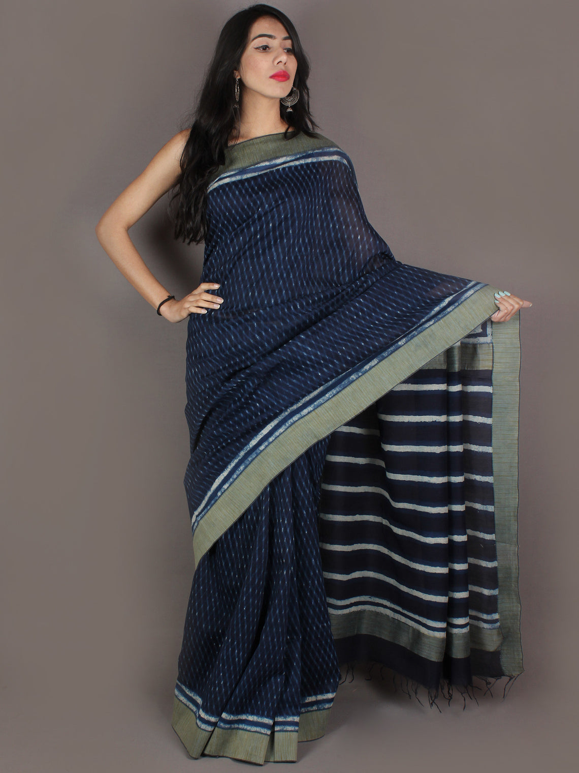 Indigo White Hand Block Printed in Natural Colors Chanderi Saree With Geecha Border - S03170973