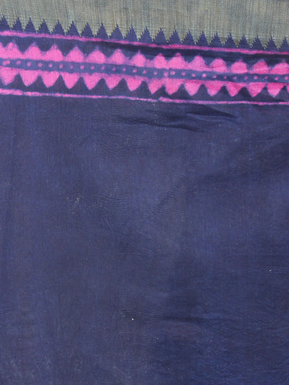 Indigo Pink Hand Block Printed in Natural Colors Chanderi Saree With Geecha Border - S03170974