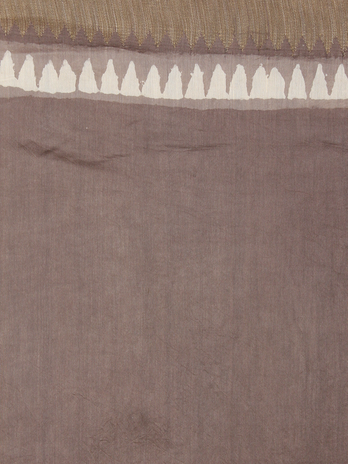 Brown White Hand Block Printed in Natural Colors Chanderi Saree With Geecha Border - S03170975