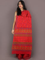 Red Yellow Grey Green Bagru Dabu Hand Block Printed in Cotton Mul Saree - S03170982