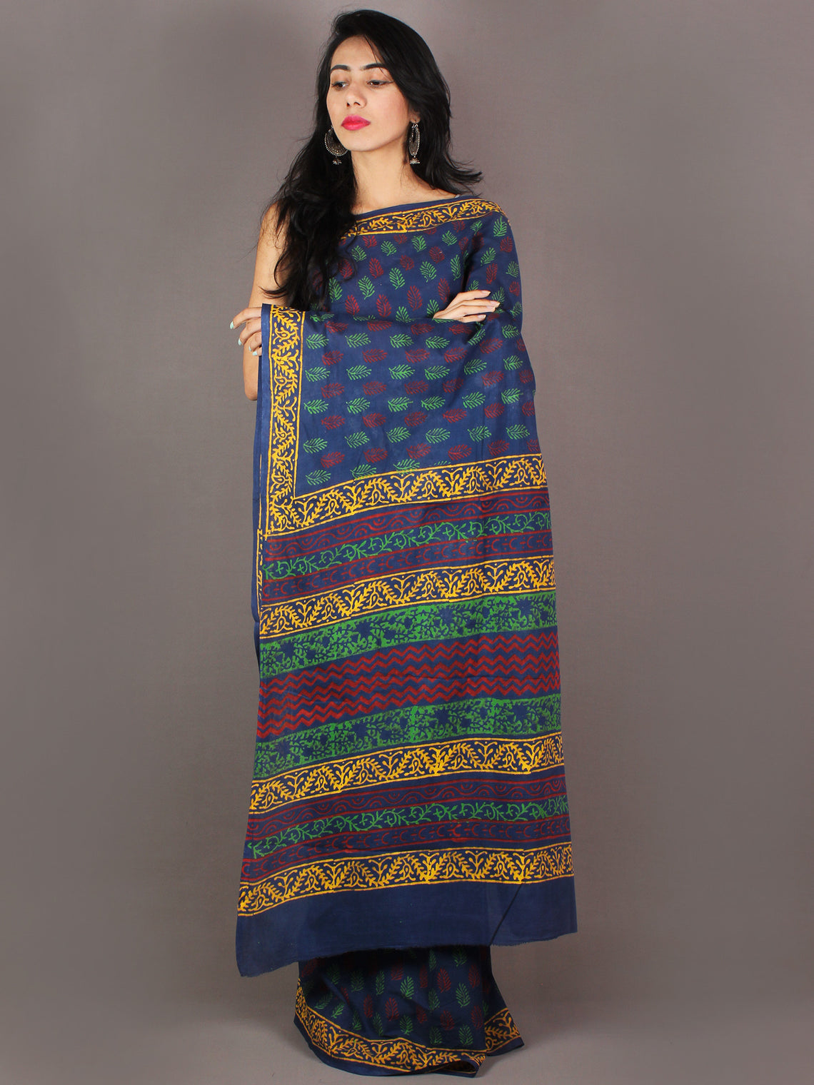 Indigo Maroon Green Yellow Bagru Dabu Hand Block Printed in Cotton Mul Saree - S03170983