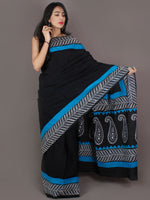 Black White Sky Blue Hand Block Printed in Cotton Mul Saree - S03170985