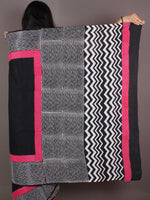 Black White Pink Hand Block Printed in Cotton Mul Saree - S03170986