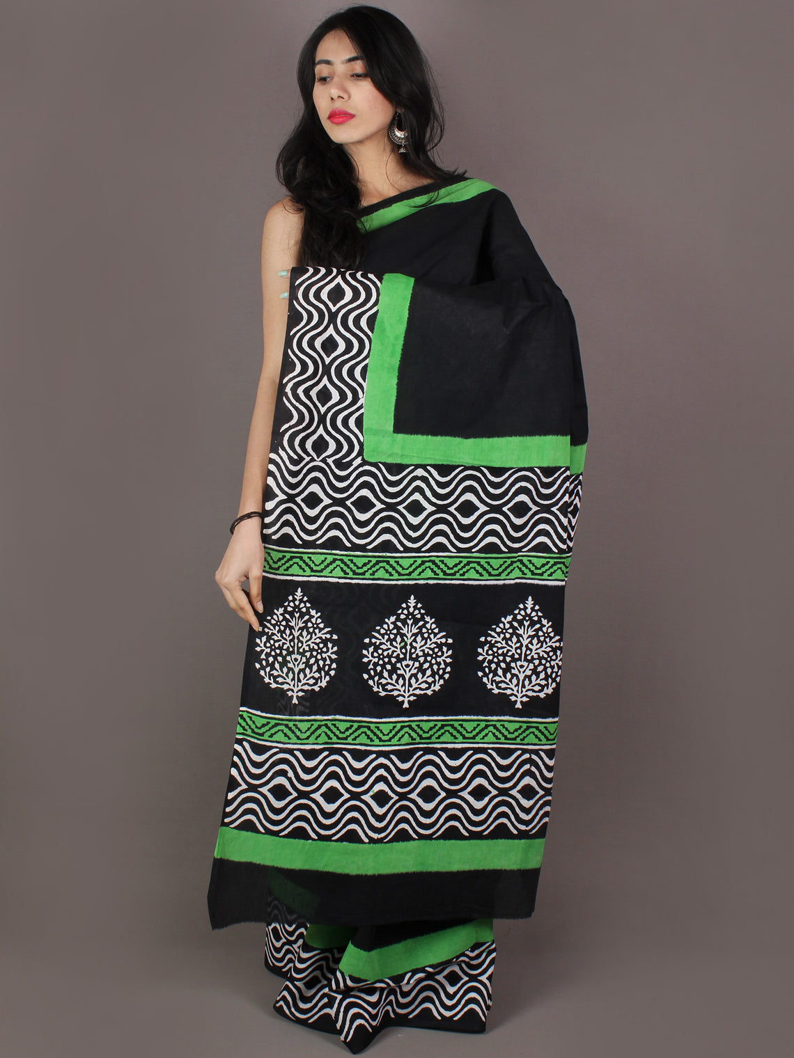 Black White Mint Green Hand Block Printed in Cotton Mul Saree - S03170988