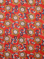 Rust Mustard Ivory Blue Hand Block Printed Cotton Fabric Per Meter - F001F1813