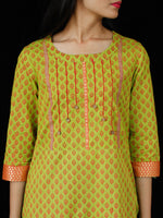 Lime Green Coral South Handloom Cotton Kurta With Embroidery Details - K163FXXX