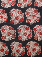 Black Ivory Red Hand Block Printed Cotton Fabric Per Meter - F001F1806