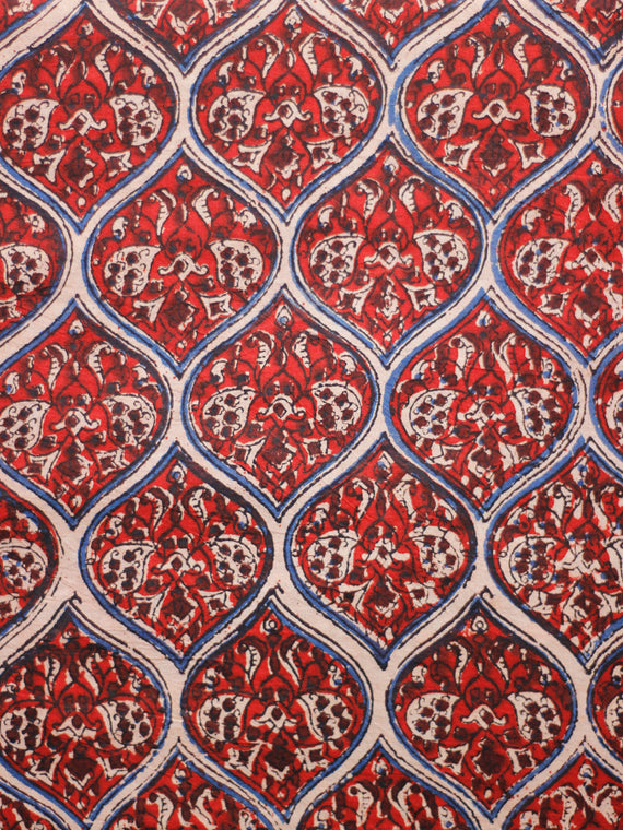 Red Ivory Maroon Indigo Hand Block Printed Cotton Fabric Per Meter - F001F1807
