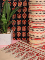 Blue Beige Red Ajrakh Hand Block Printed Suit Set (Set of 3) - SU01HB463