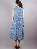 Indigo Hand Block Printed Zip And Flared Sleeveless Cotton Dress - D0277005