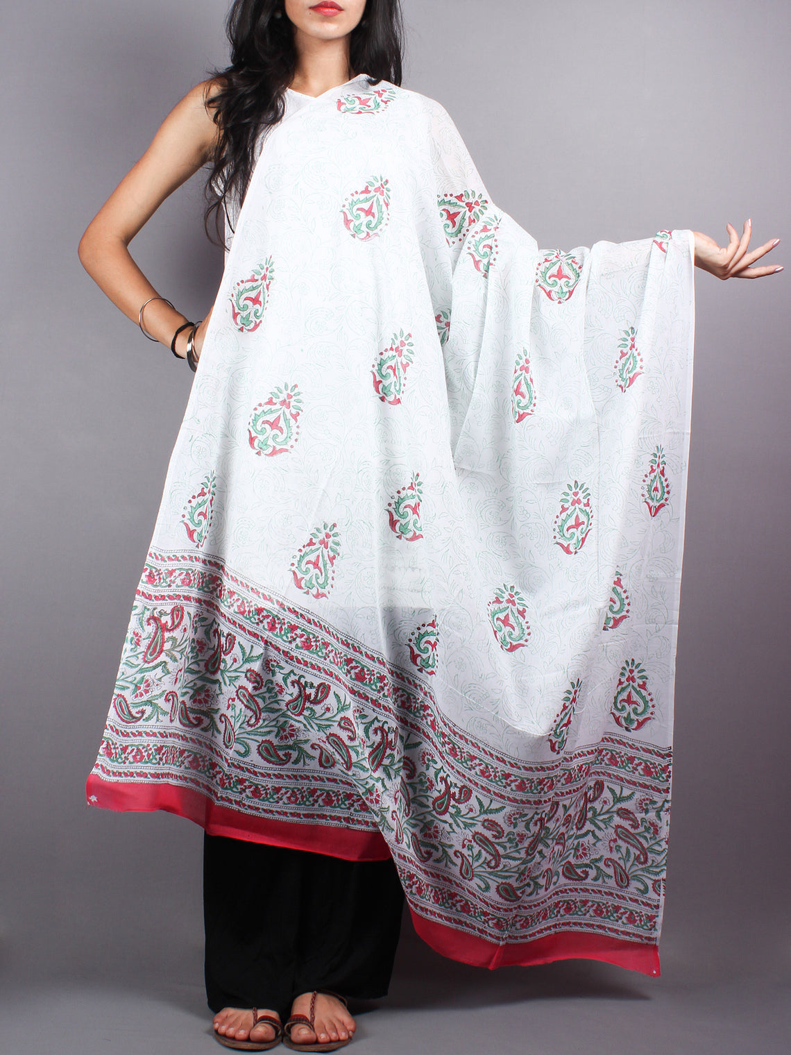 Red Green Cotton Hand Block Printed Dupatta- D0417038