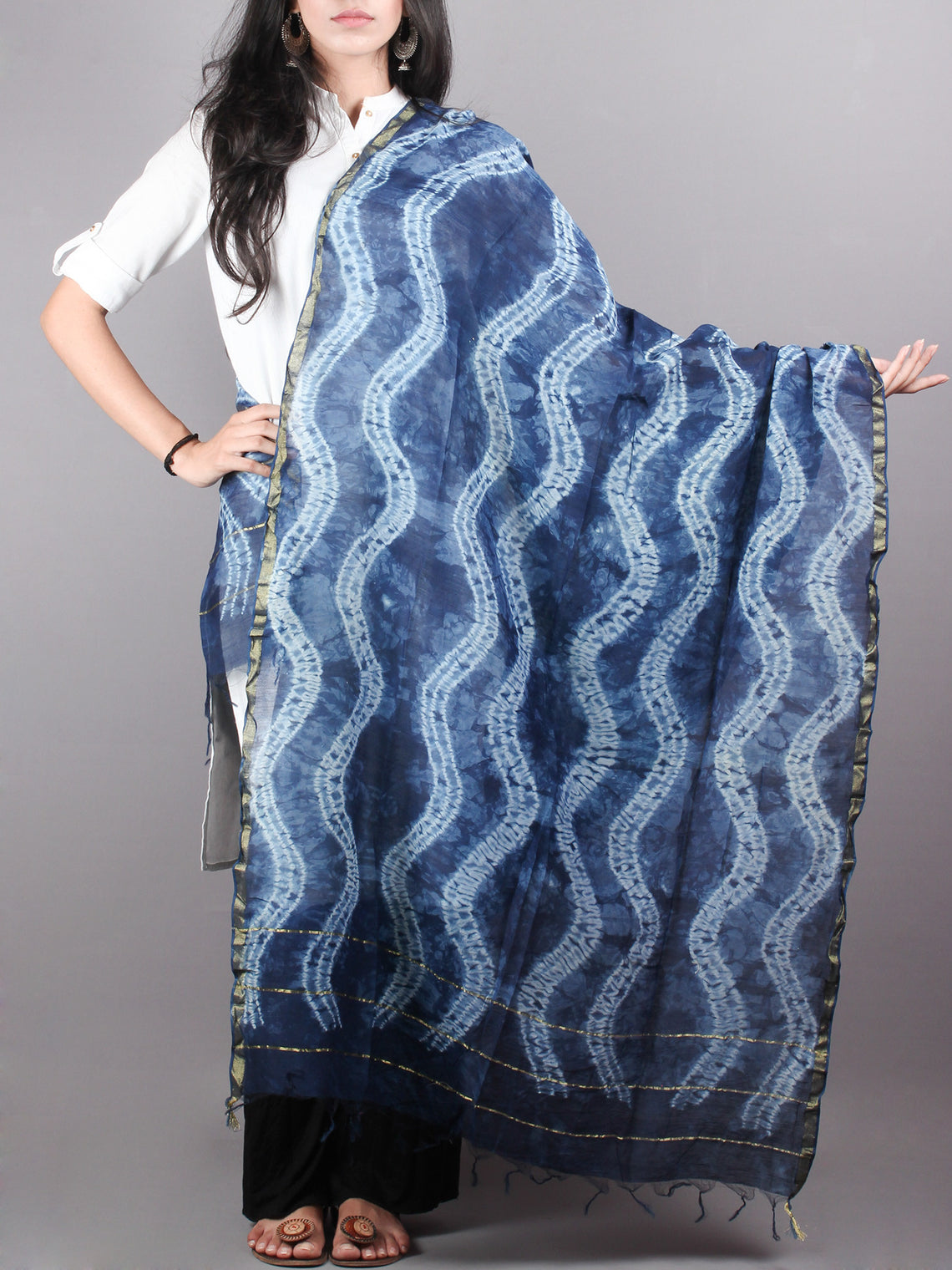 Indigo Shibori Hand Dyed in Natural Vegetable Colors Chanderi Dupatta - D0417059