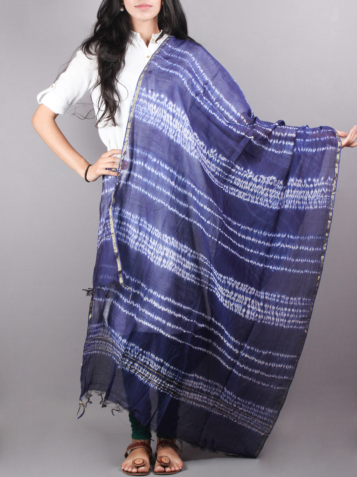 Indigo Shibori Hand Dyed in Natural Vegetable Colors Chanderi Dupatta - D0417061
