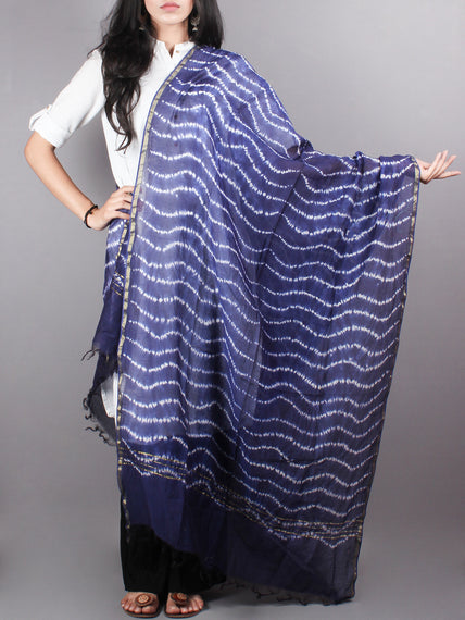 Indigo Shibori Hand Dyed in Natural Vegetable Colors Chanderi Dupatta - D0417057