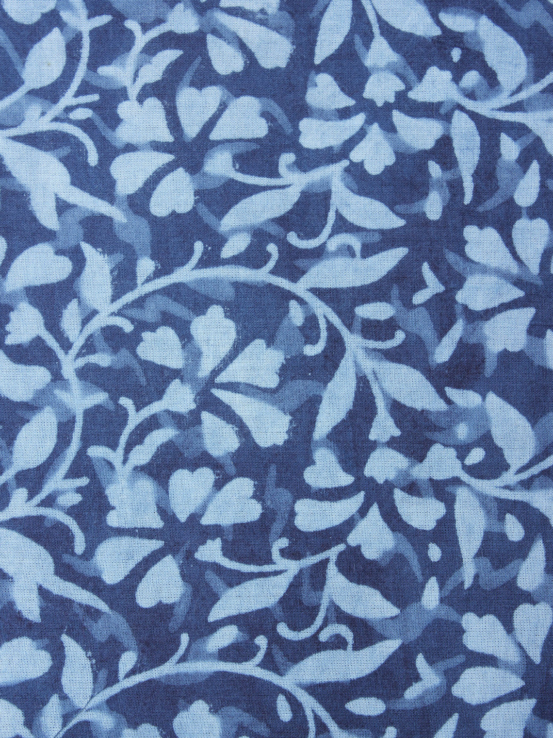 Indigo with Light Blue Color Natural Dyed Hand Block Printed Cotton Fabric Per Meter - F0916207