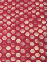 Red With Beige Color Natural Dyed Hand Block Printed Cotton Fabric Per Meter - F0916212