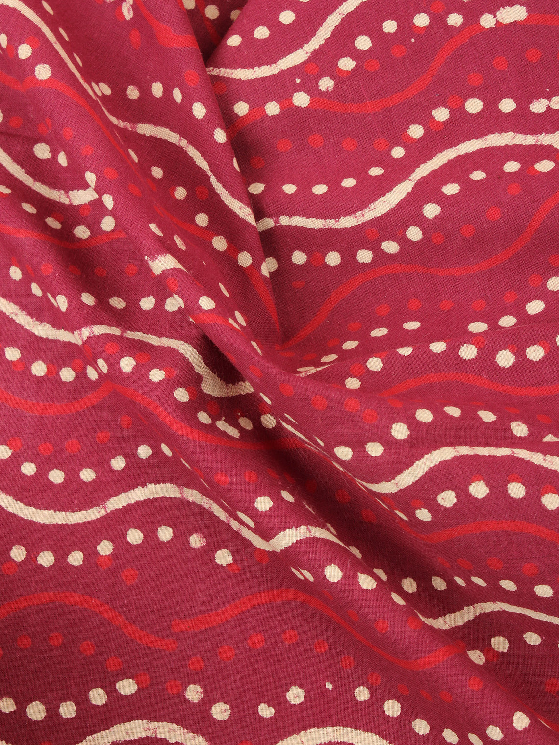 Red with Beige Color Natural Dyed Hand Block Printed Cotton Fabric Per Meter - F0916217