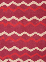 Red Beige Leharia Natural Dyed Hand Block Printed Cotton Fabric Per Meter - F0916218