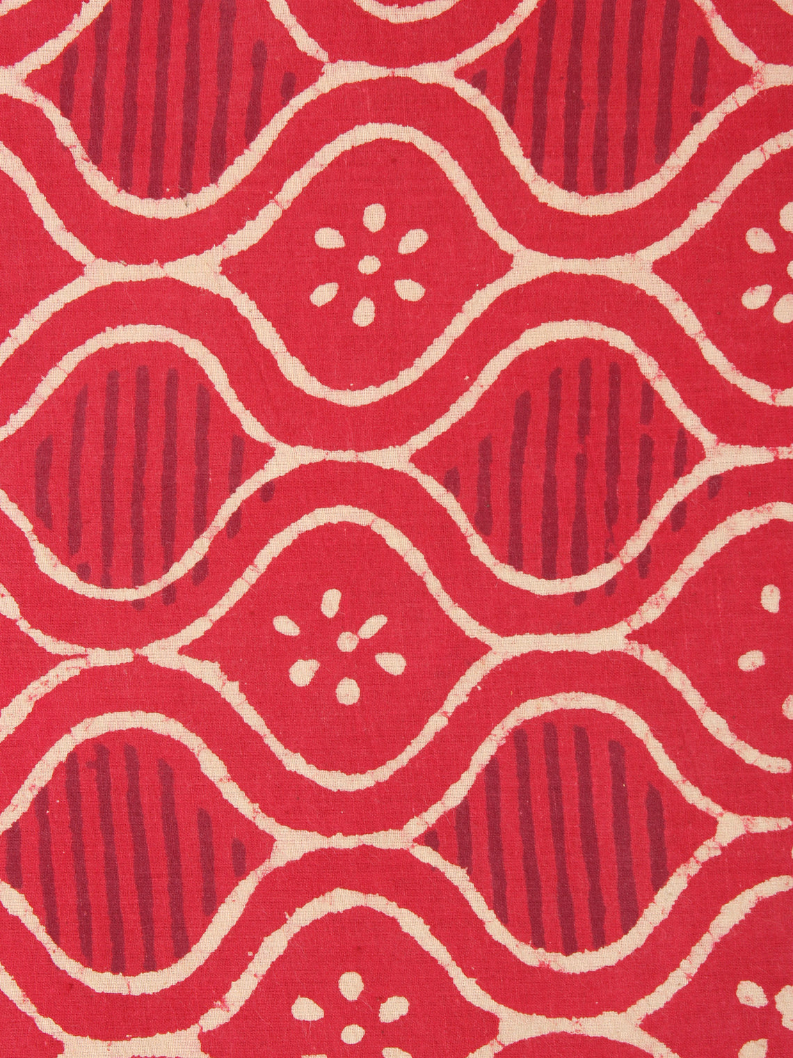 Red With Beige Color Natural Dyed Hand Block Printed Cotton Fabric Per Meter - F0916222
