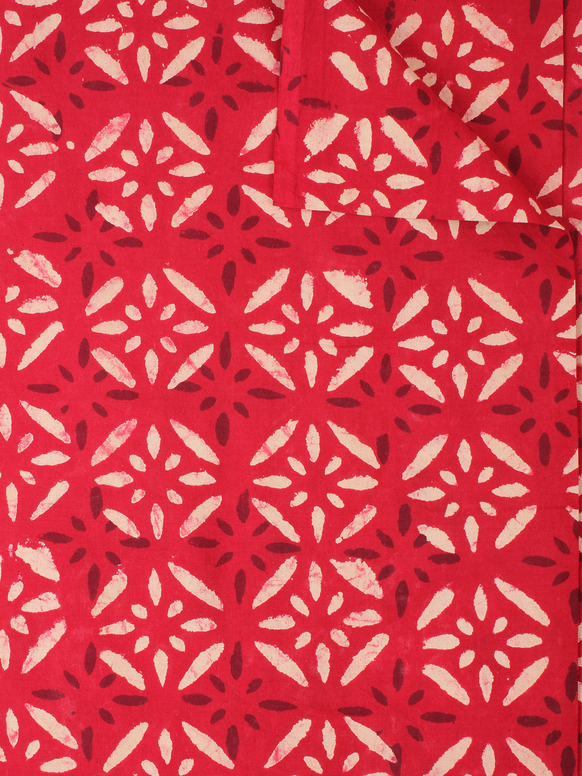 Red Beige Natural Dyed Hand Block Printed Cotton Fabric Per Meter - F0916225