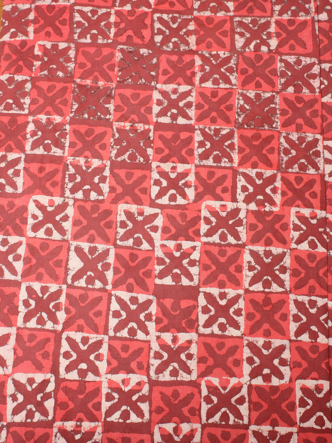 Red Beige Natural Dyed Hand Block Printed Cotton Fabric Per Meter - F0916229