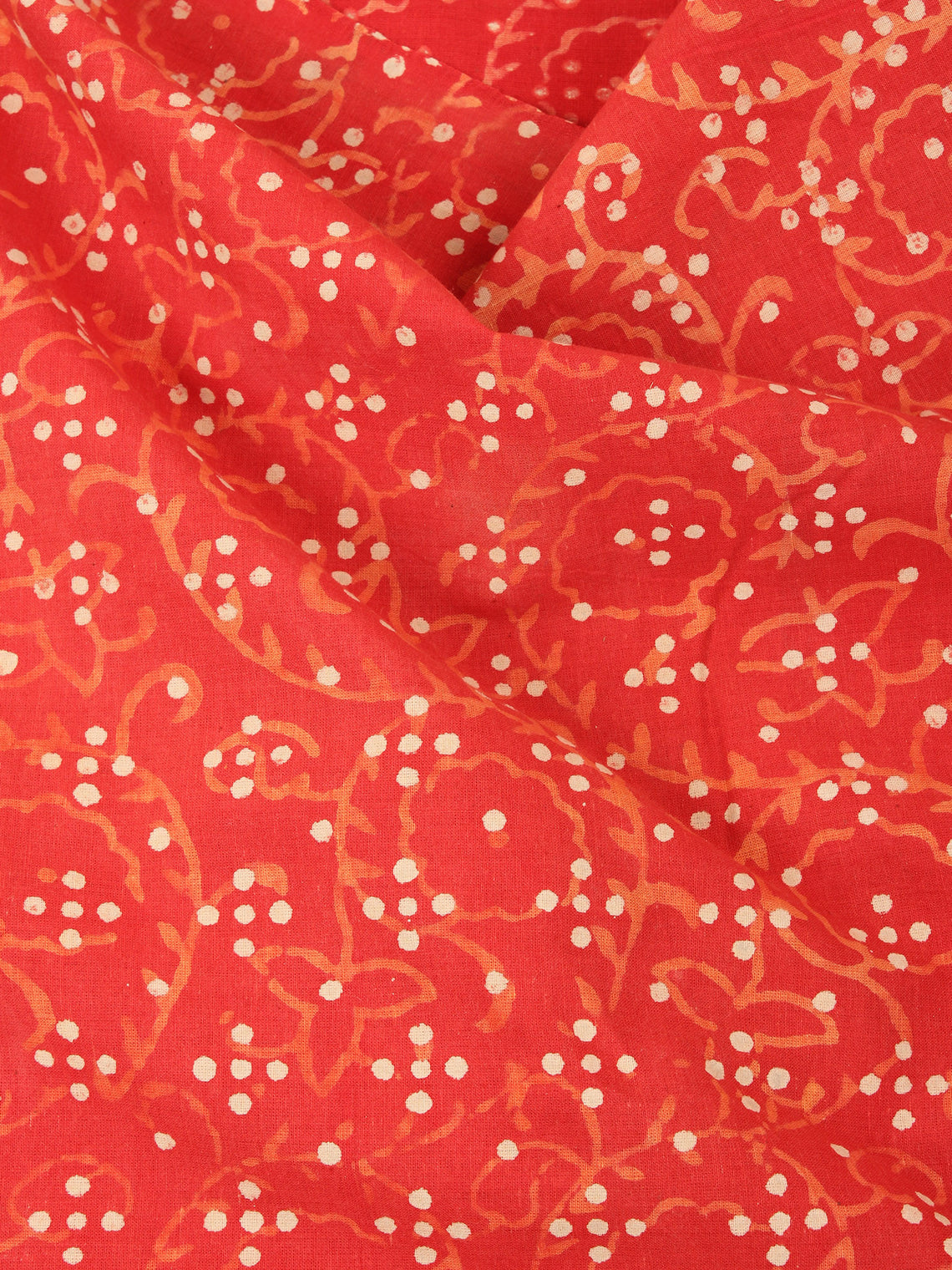 Orange Beige Natural Dyed Hand Block Printed Cotton Fabric Per Meter - F0916231