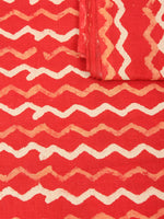Orange Beige Natural Dyed Hand Block Printed Cotton Fabric Per Meter - F0916232