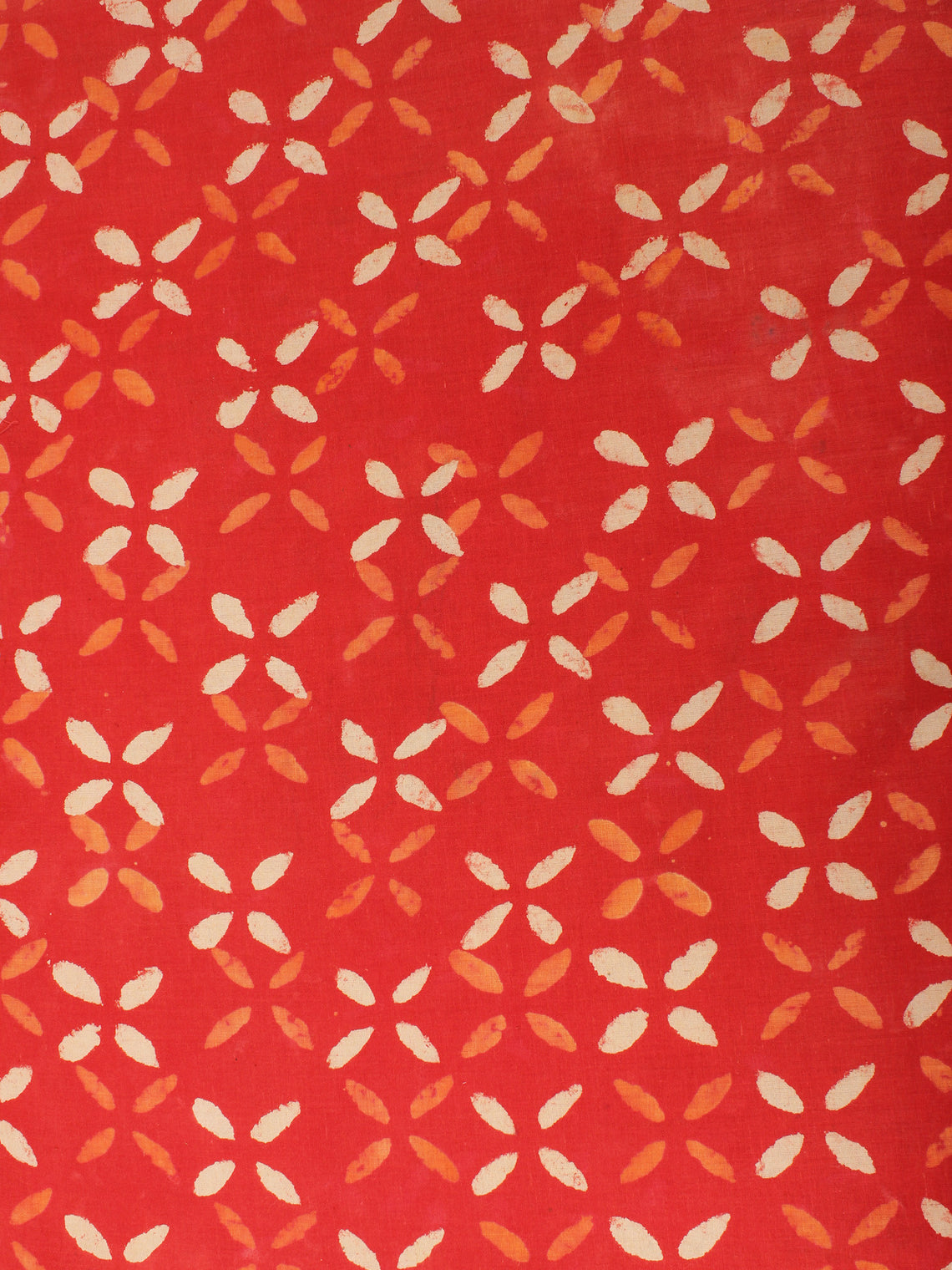 Orange Beige Natural Dyed Hand Block Printed Cotton Fabric Per Meter - F0916234