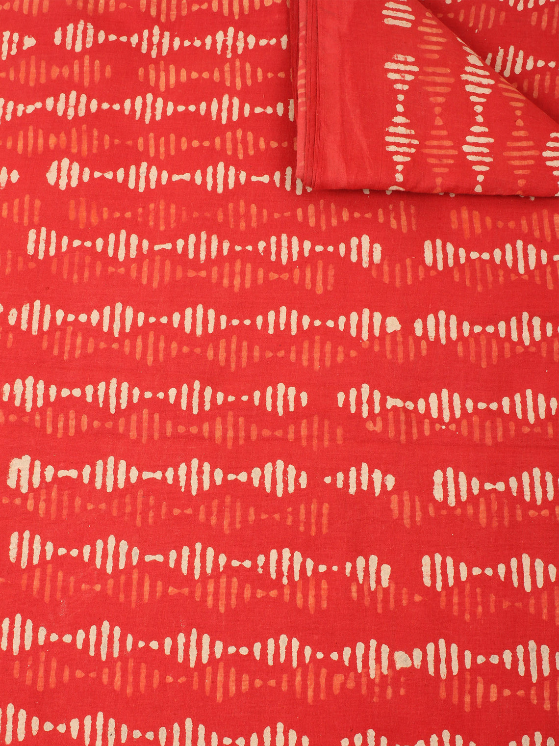 Orange Beige Natural Dyed Hand Block Printed Cotton Fabric Per Meter - F0916235