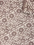Beige Brown Natural Dyed Hand Block Printed Cotton Fabric Per Meter - F0916237