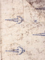 Indigo Ivory Natural Dyed Hand Block Printed Cotton Fabric Per Meter - F0916240